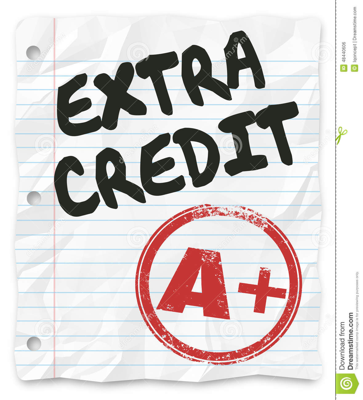 extra credit added points results graded school paper homework stock