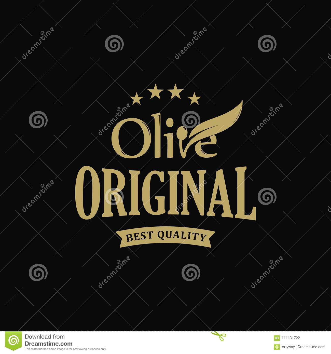 Extra virgin Olive oil premium quality. Olives branch vintage label. Healthy products retro green vector logo template