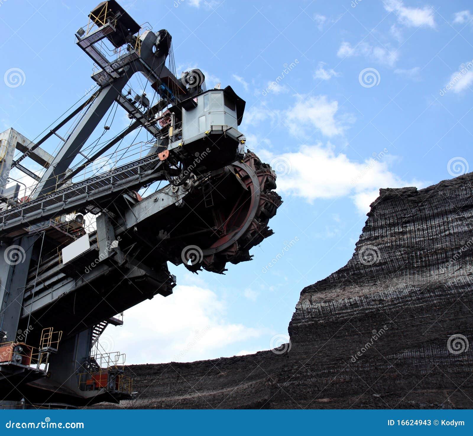 Extracção de carvão com máquina escavadora grande