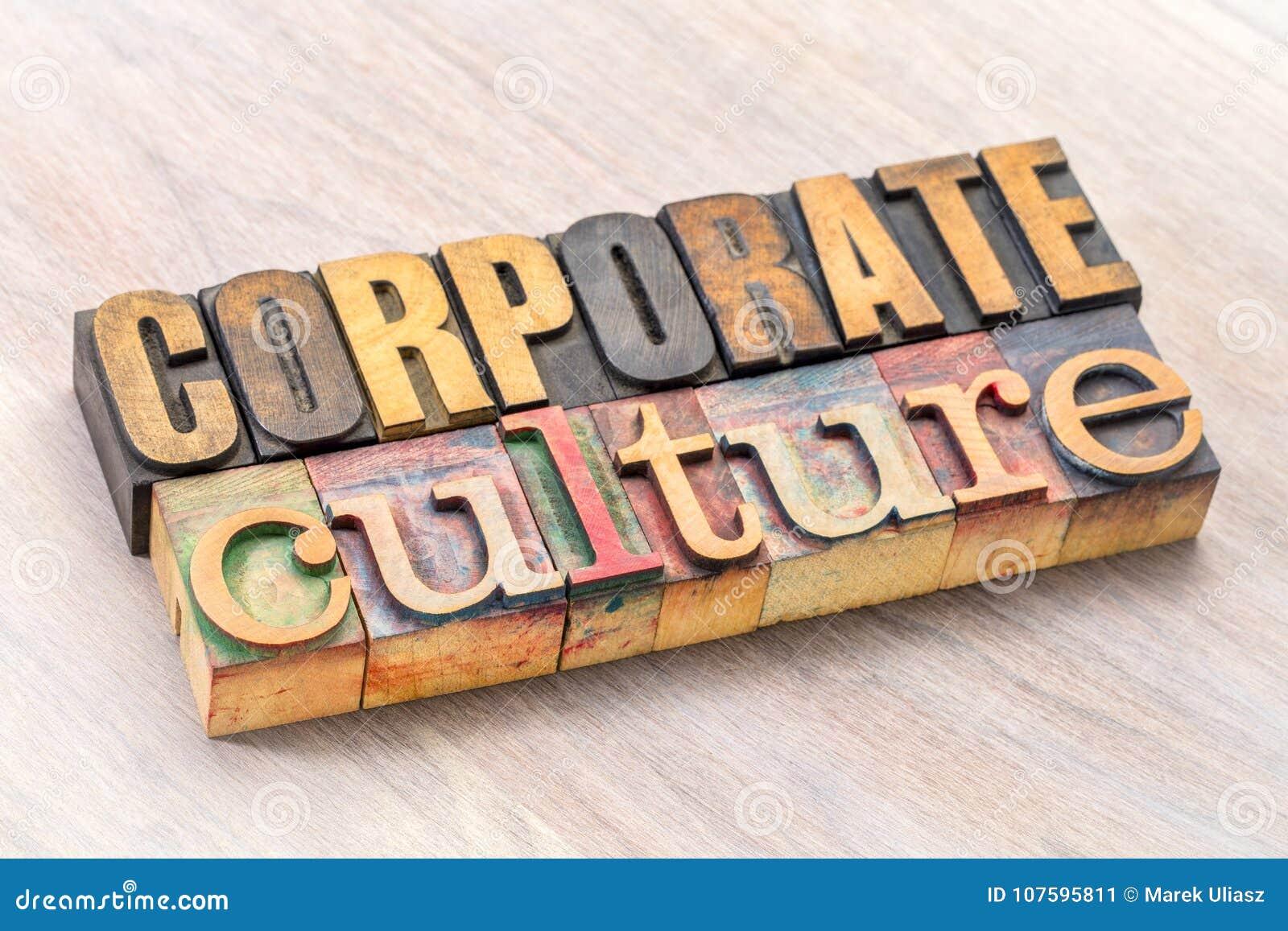 Extracto de la palabra de la cultura corporativa en el tipo de madera