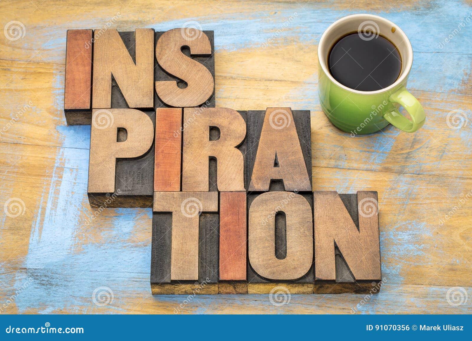 Extracto de la palabra de la inspiración en tipo de madera de la prensa de copiar