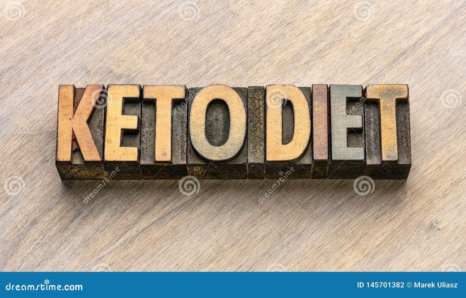 Extracto de la palabra de la dieta del Keto en el tipo de madera