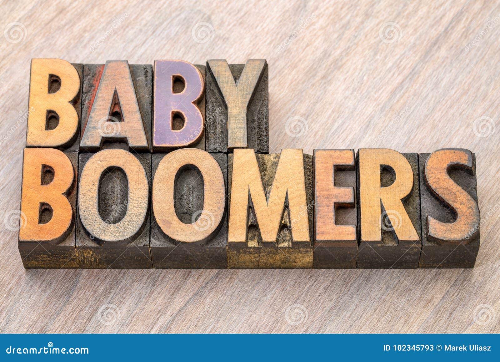 Extracto de la palabra de los nacidos en el baby boom en el tipo de madera