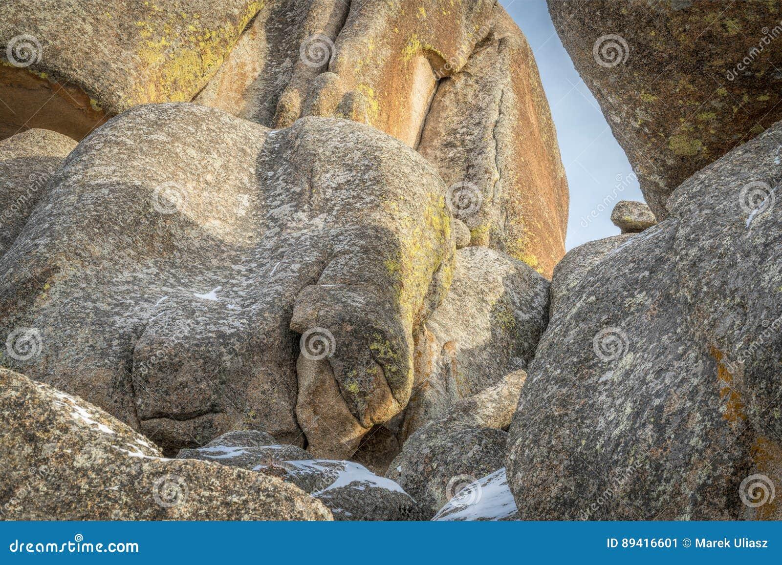 Extracto de la roca del granito de la zona de recreo de Vedauwoo