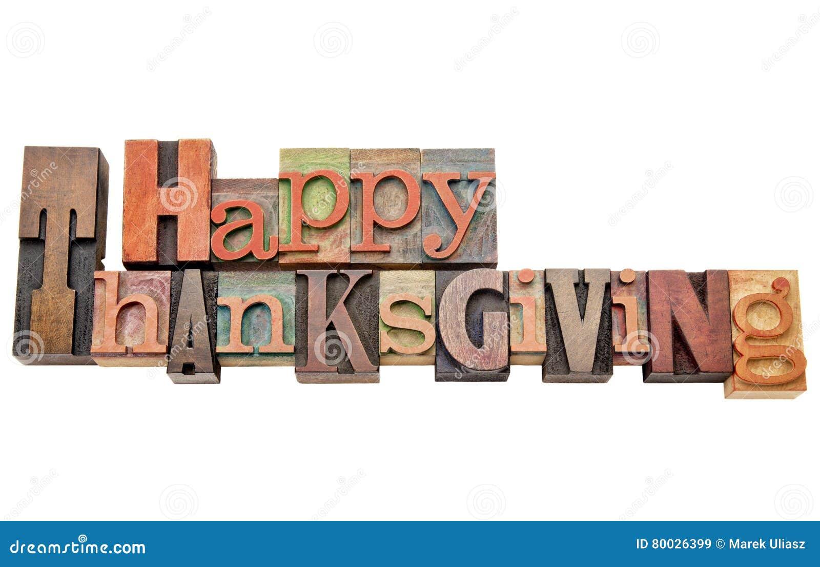 Extracto feliz de la palabra de la acción de gracias en el tipo de madera