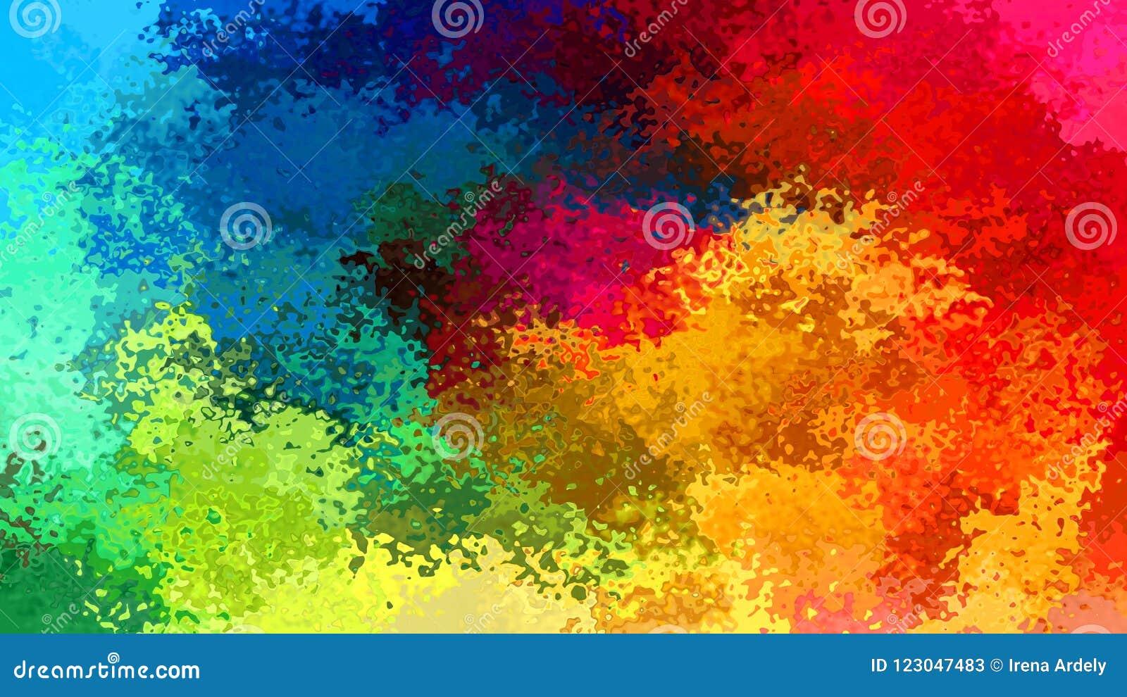 Extrahieren Sie befleckten farbenreichen Spektrumregenbogen des Musterrechteckhintergrundes - moderne Malereikunst - Aquarelleffe