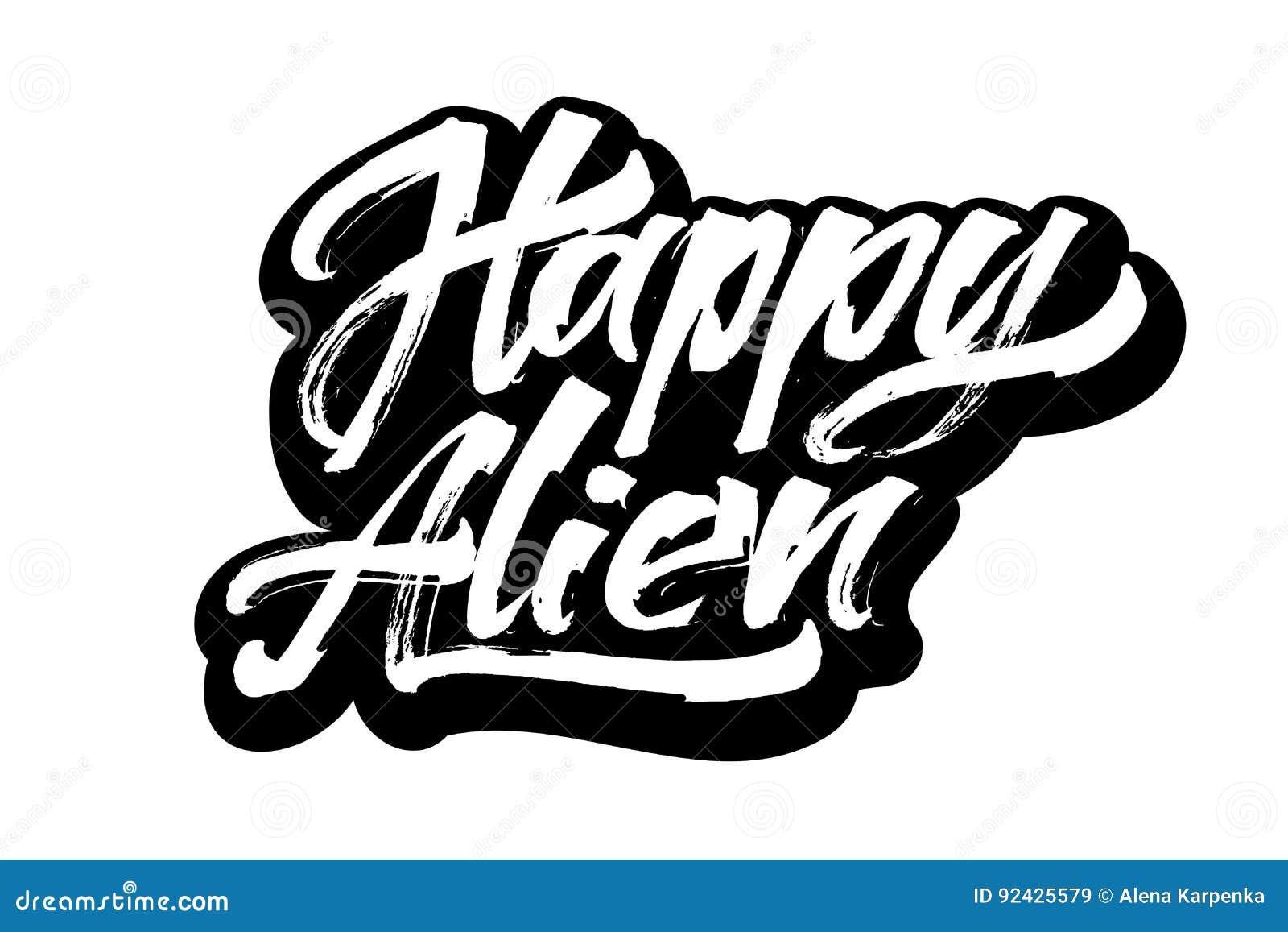Extranjero feliz letras modernas de la mano de la - Letras para serigrafia ...