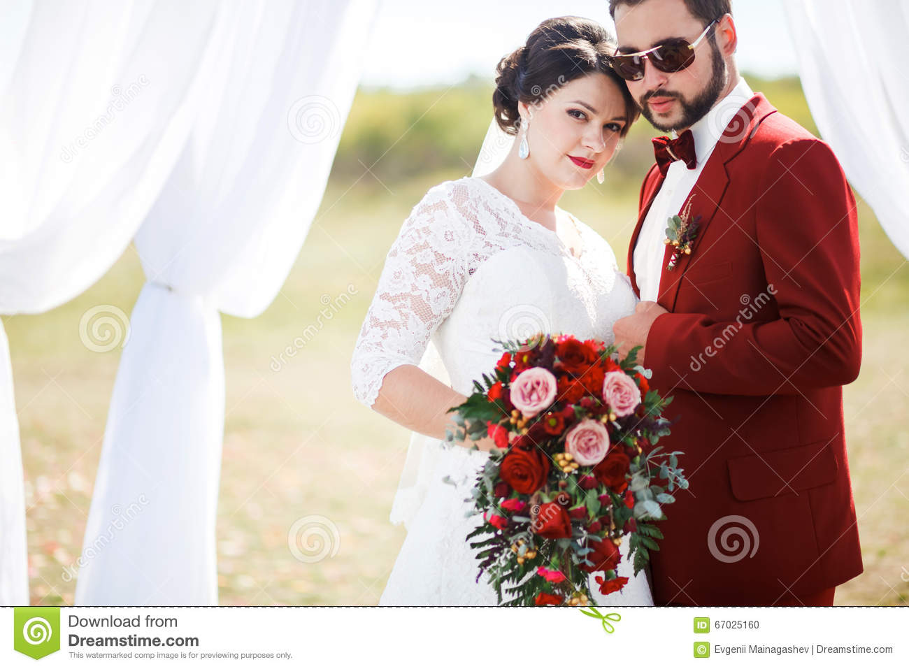 Extravagant Bride And Groom, Lovely Couple, Wedding Photo Shoot. Man ...