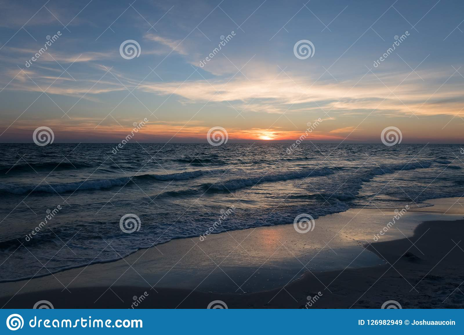 An Extravagant Sunset Over The Beach Stock Image Image Of Cruise Blue 126982949
