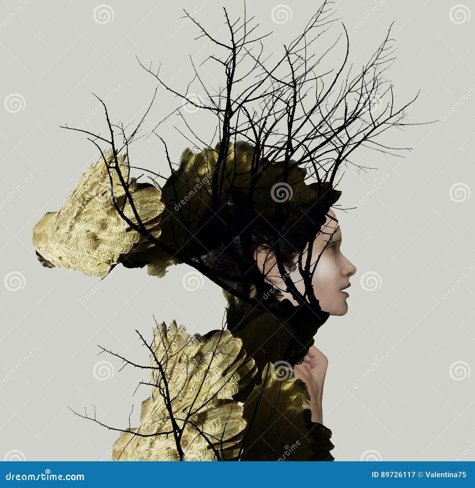 Extravange Portrait Profile of a Beautiful Girl
