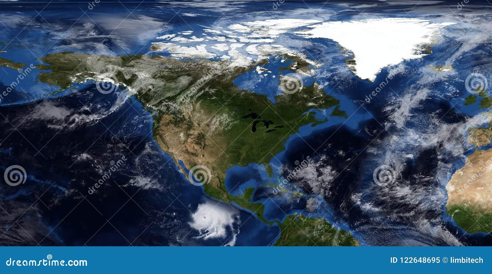 Extrem ausführliche und realistische Illustration 3D eines Hurrikans, der Nordamerika sich nähert Geschossen vom Raum Elemente di