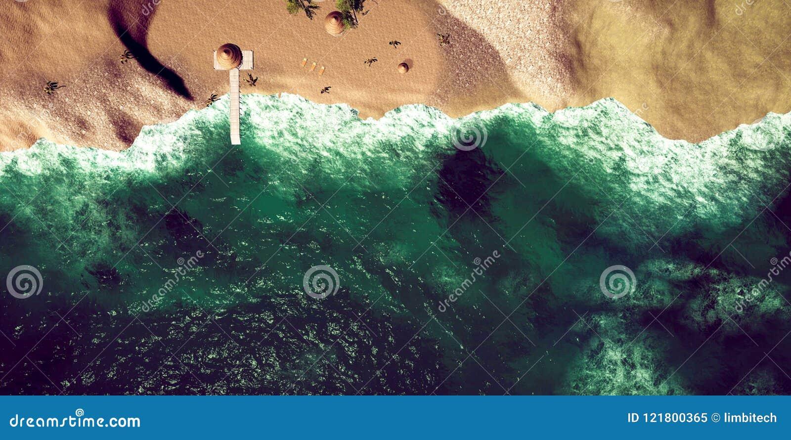 Extrem ausführliche und realistische Illustration der hohen Auflösung 3D des tropischen Strandes