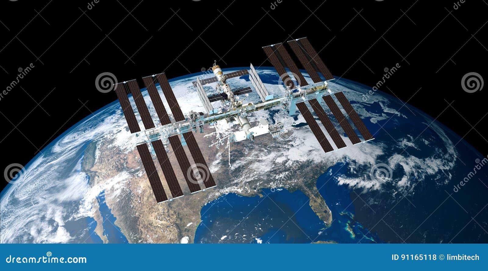 Extrem ausführliches und realistisches Bild der hohen Auflösung 3D der umkreisenden Erde ISS-internationaler Weltraumstation scho