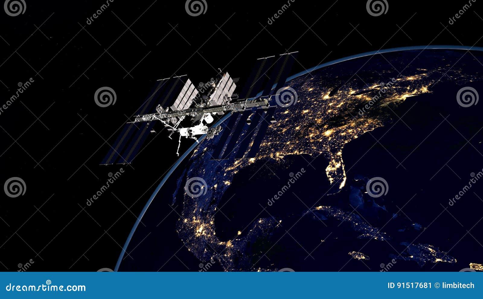 Extrem ausführliches und realistisches Bild der hohen Auflösung 3D von ISS - umkreisende Erde der internationalen Weltraumstation