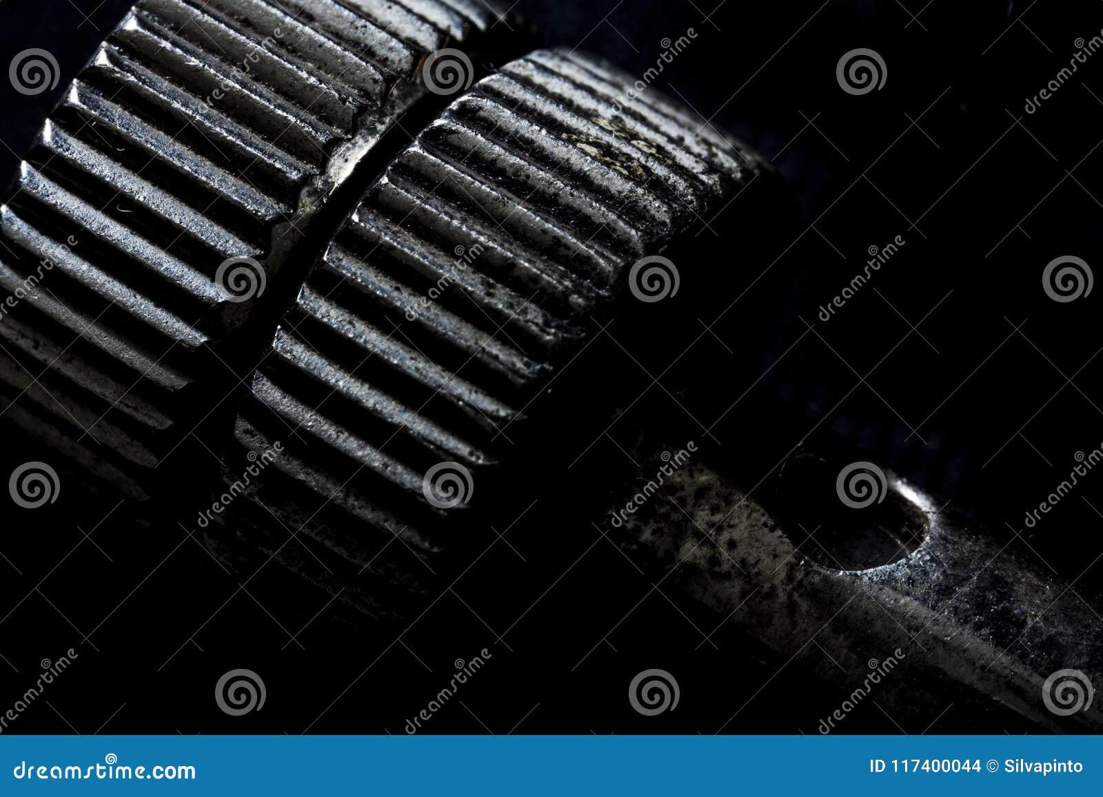 Extrem nah oben von der Eisenantriebsscheibe