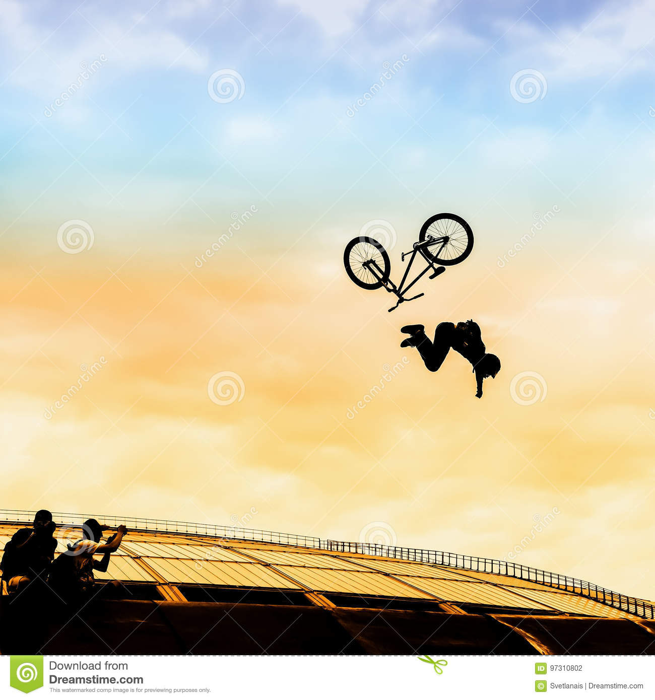 Extrem Sport. Silhouette Of Young Man Doing Jump With Bmx Bike On ...