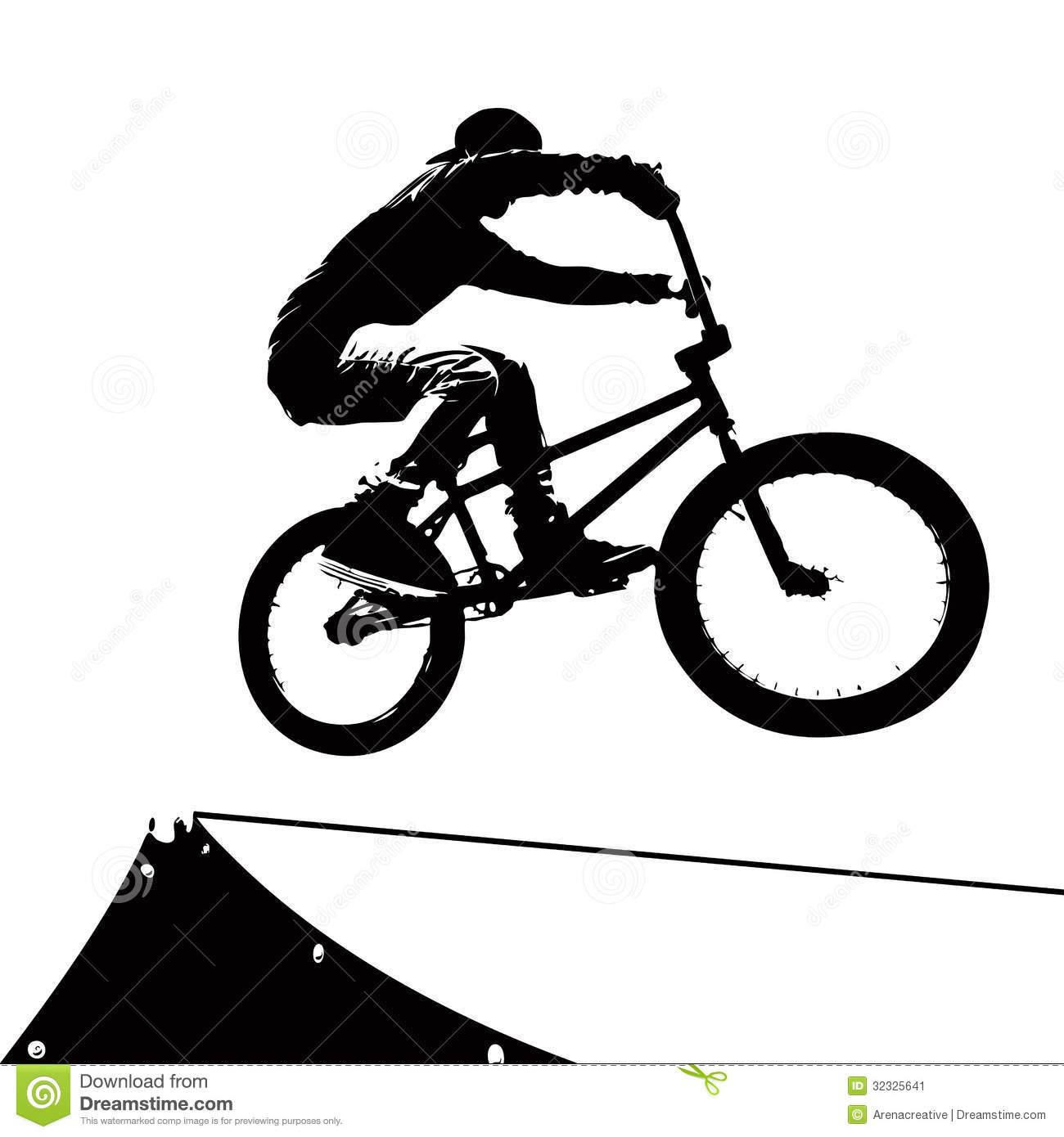 High contrast silhouette of an extreme sports bike rider doing a ...