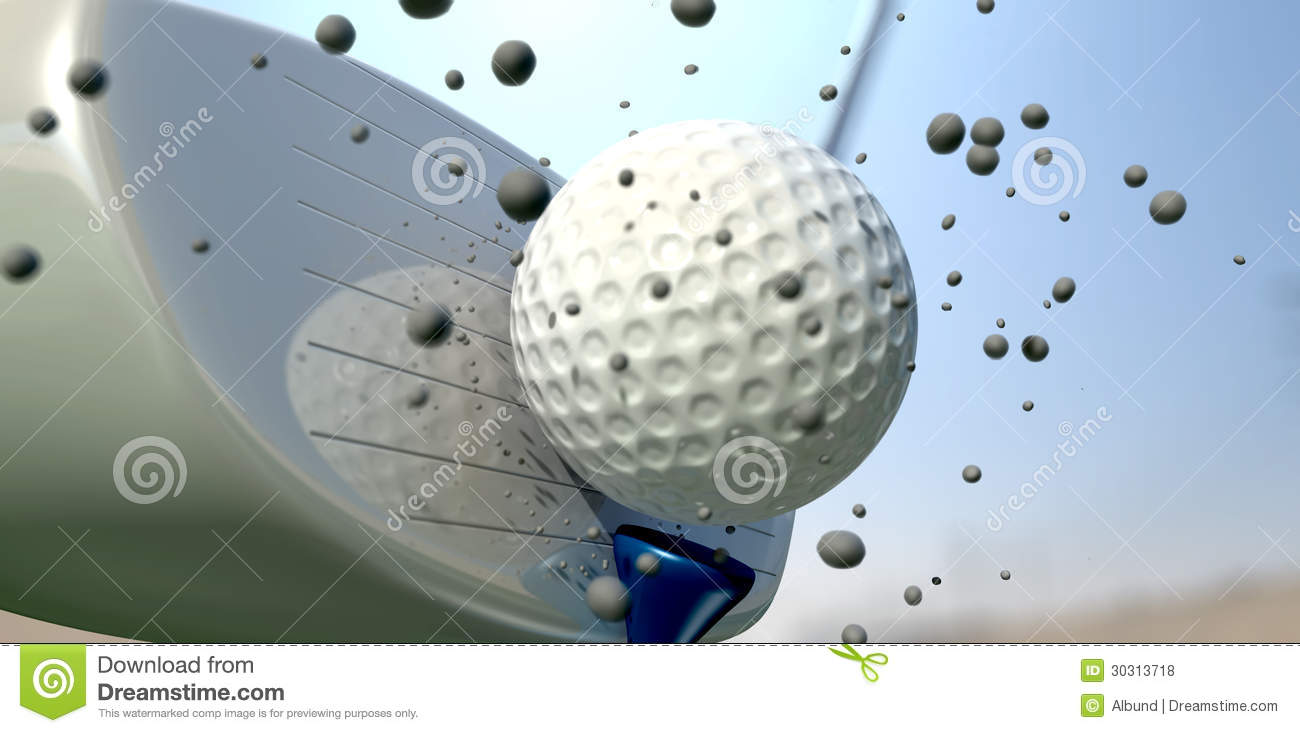 Golf Ball And Club Impact Royalty Free Stock Photos