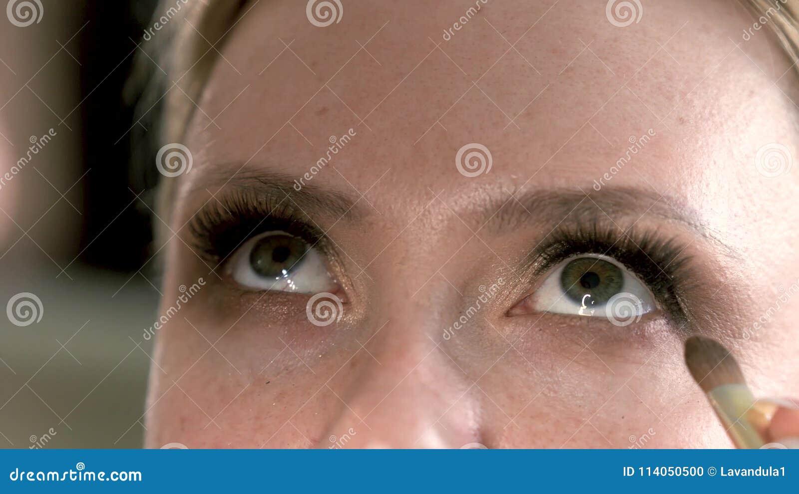 Extreme Close Up View Of Under Eye Smokey Eyes Makeup Grey Eyes