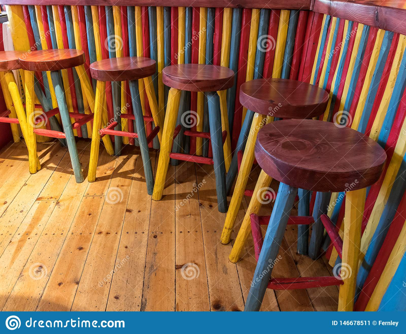 Extreme Colors Bar And Bar Stools Stock Image Image Of Bright