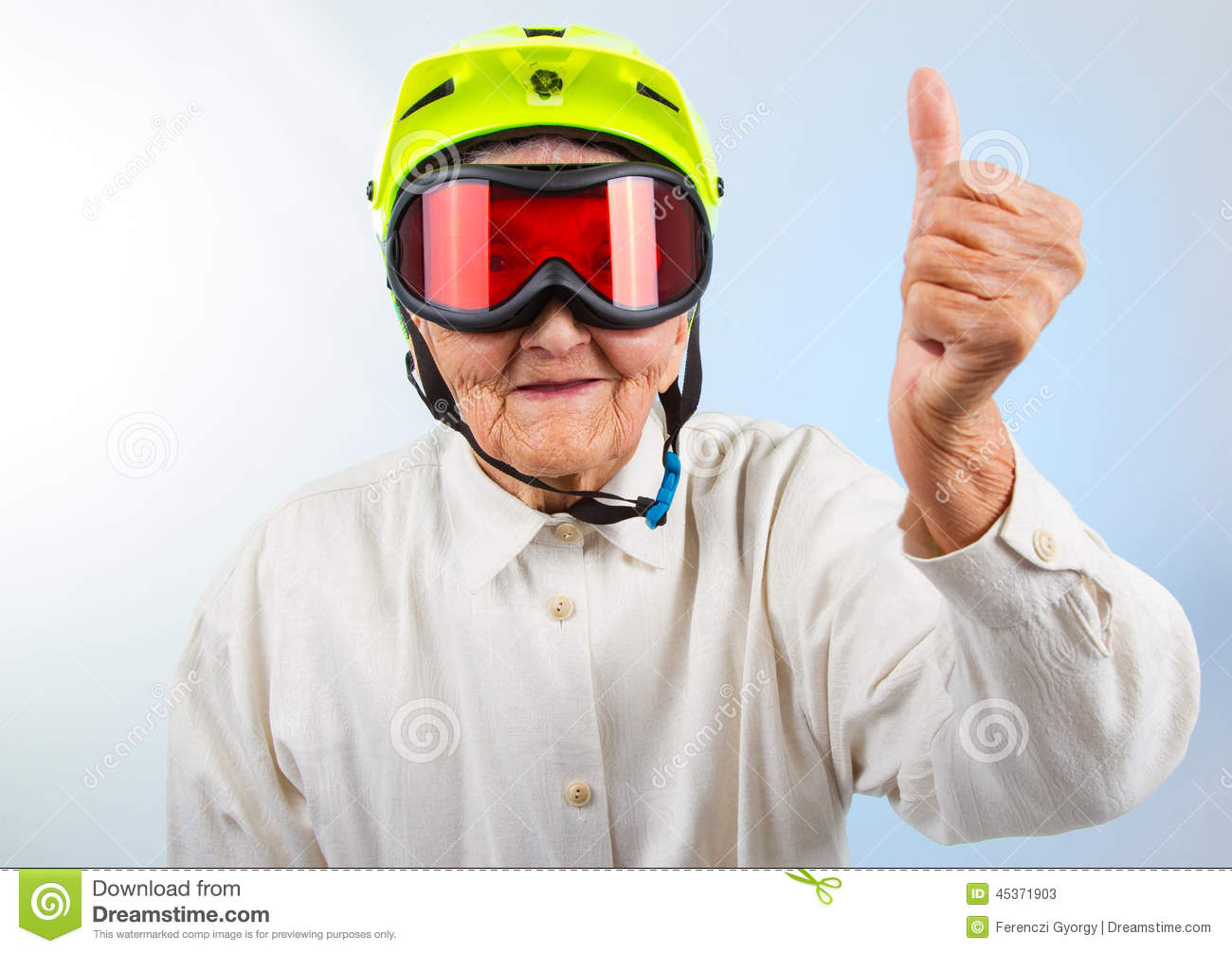 Extreme Grannie Showing Thumbs Up Stock Photo - Image ...