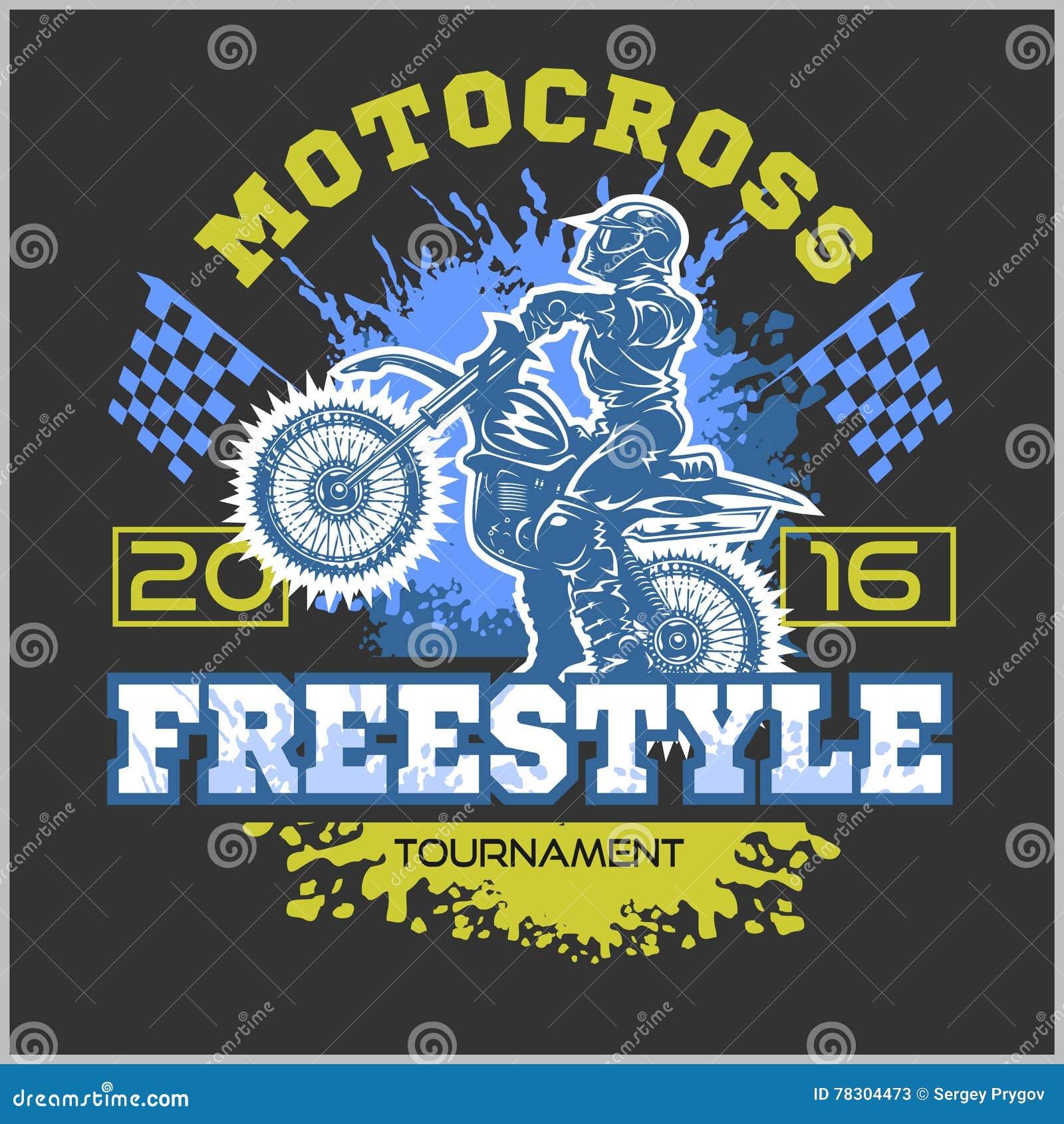 Design t shirt motocross - Extreme Motocross Emblem T Shirt Design Stock Vector