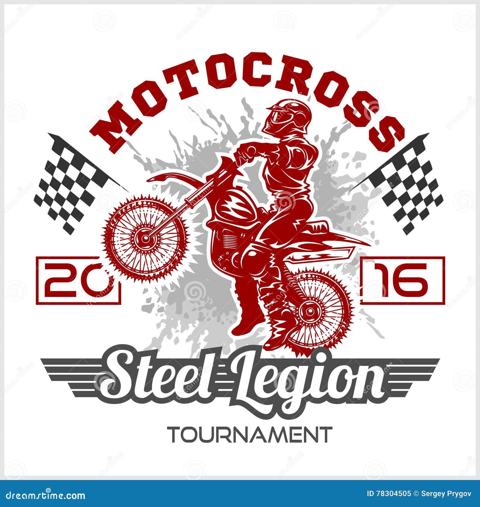 Design t shirt motocross - Royalty Free Vector