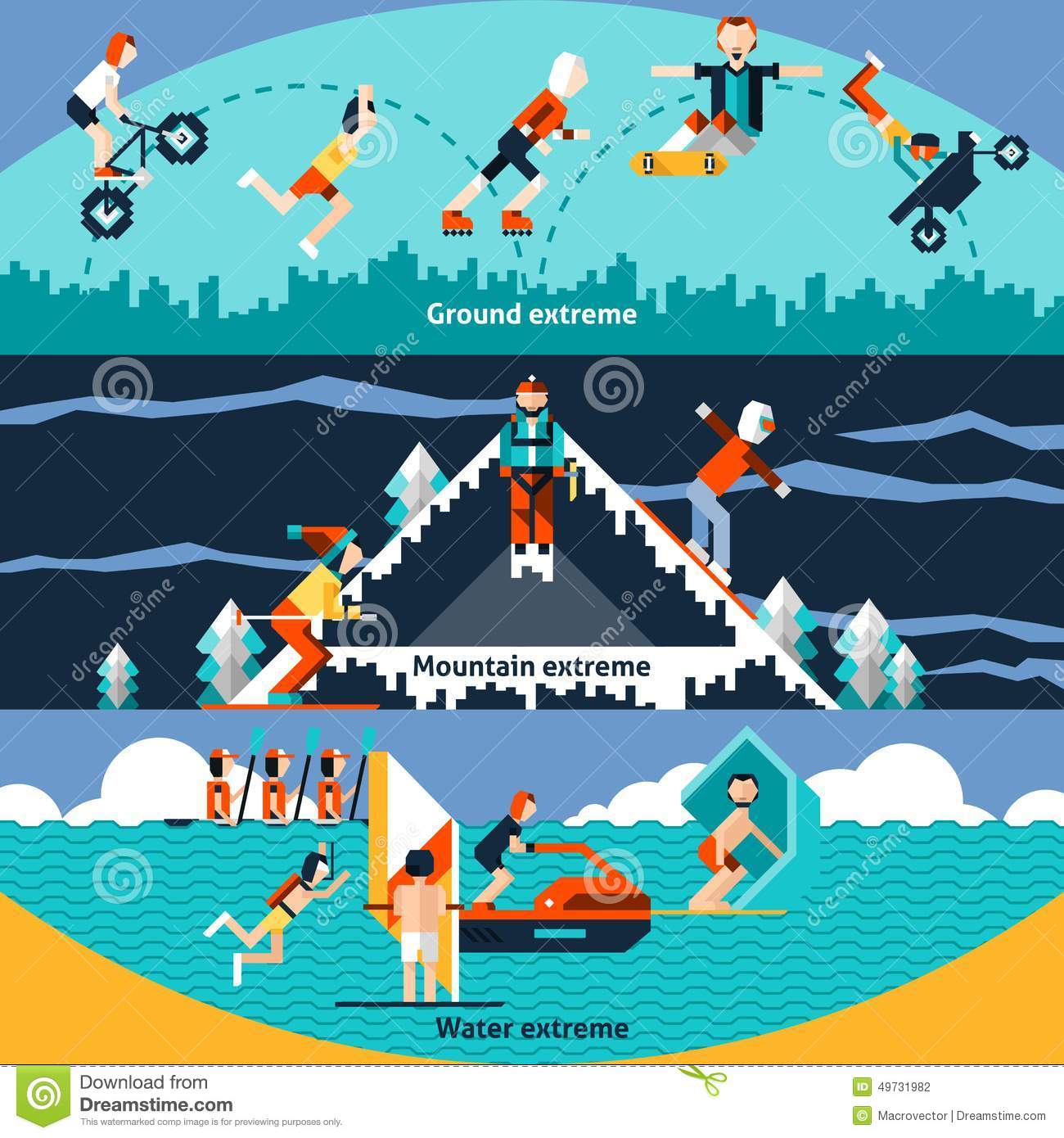 Extreme Sports: Extreme Sports Banners Vector Illustration