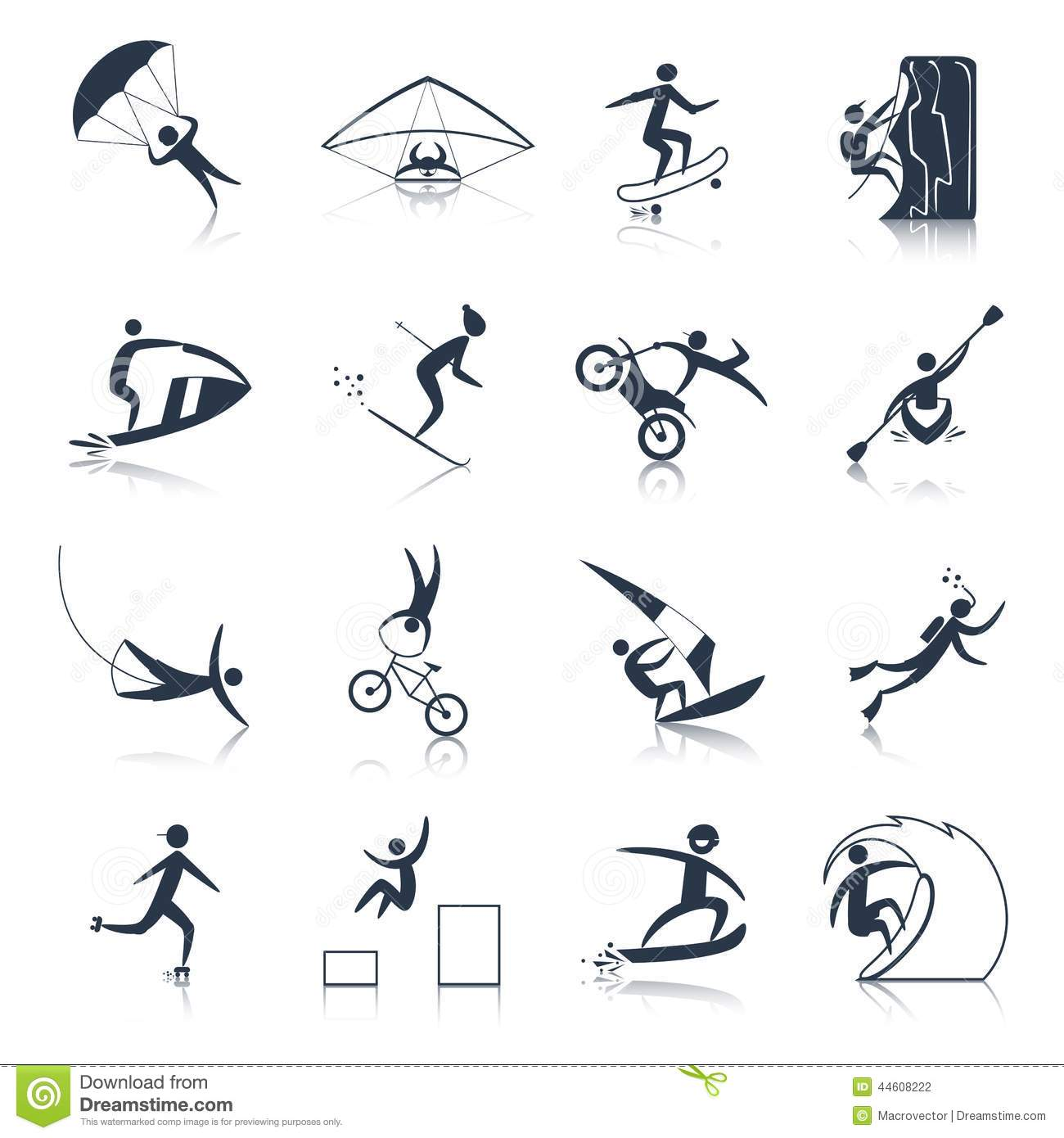 Extreme Sports Icons Black stock vector. Image of people ...