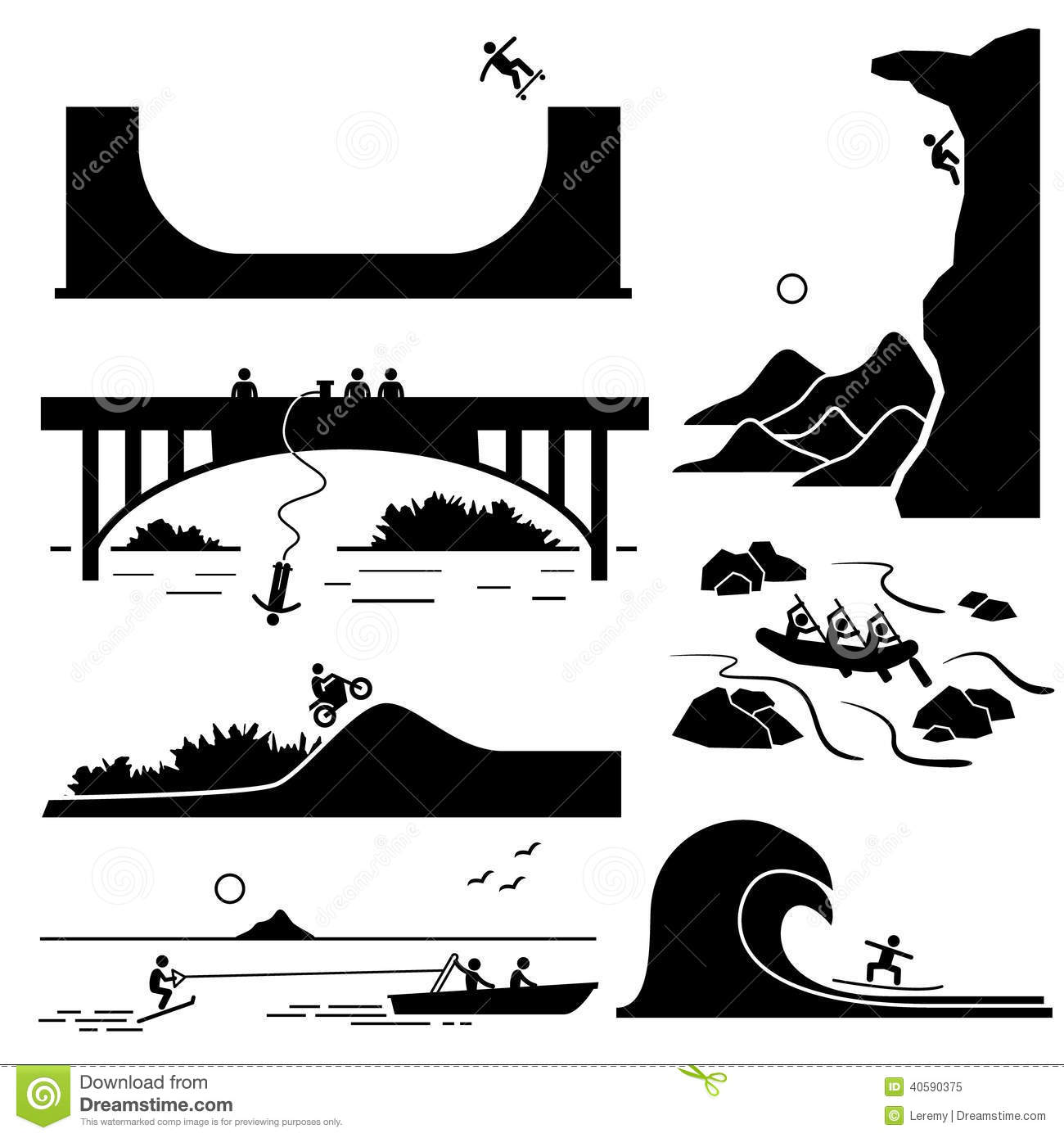 Extreme Sports Icons Cliparts Set 3 Stock Vector - Image: 40590375