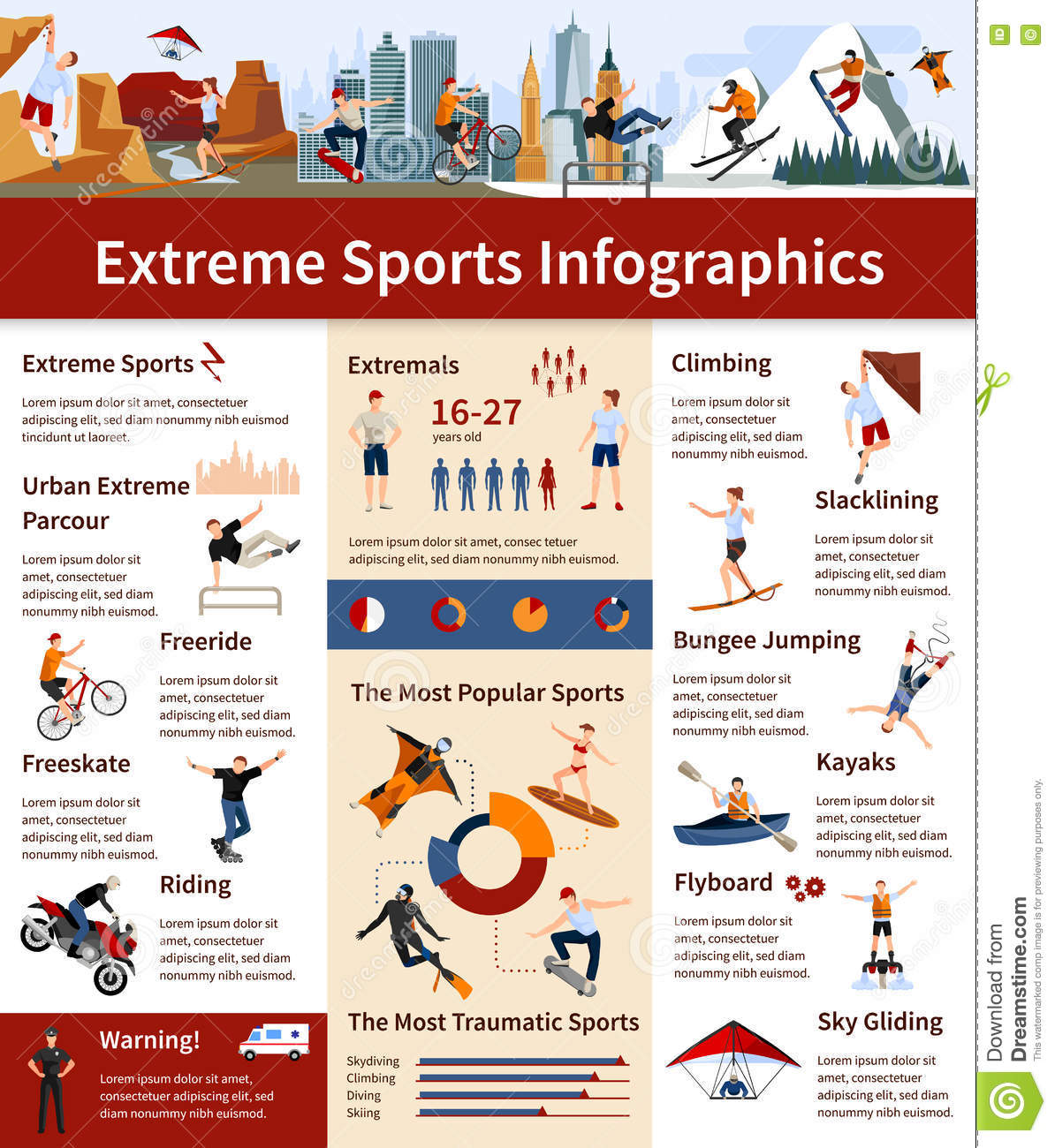Extreme sports infographics cartoon vector cartoondealer for Sports infographics templates