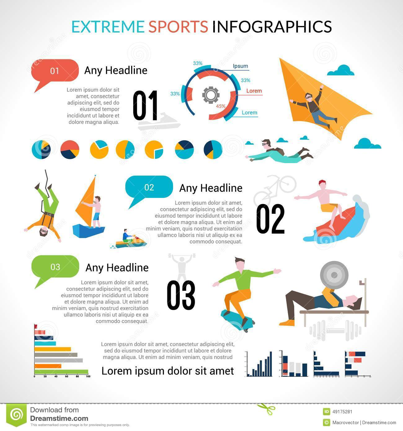 Extreme Sports Infographics Illustration 49175281 Megapixl