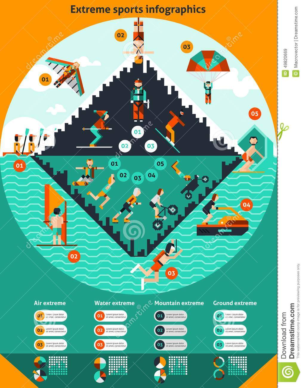 Extreme water ground air mountain sports infographics set with charts ...