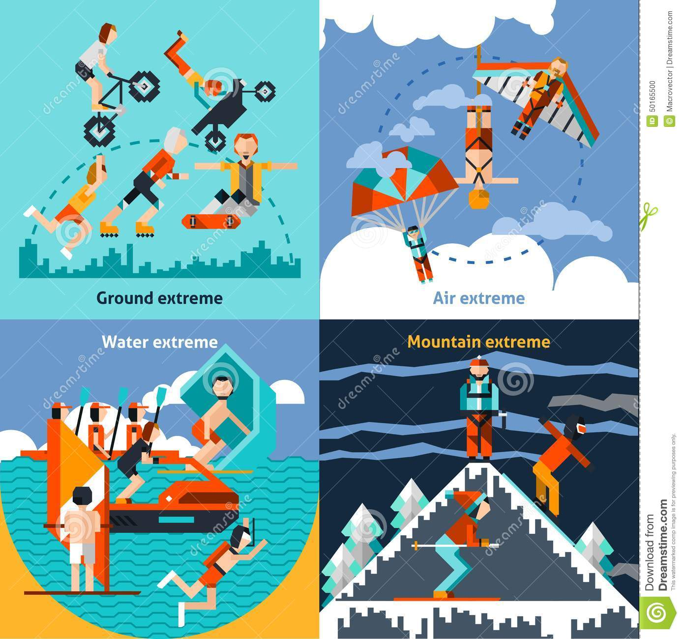 Extreme Sports: Extreme Sports Set Stock Vector