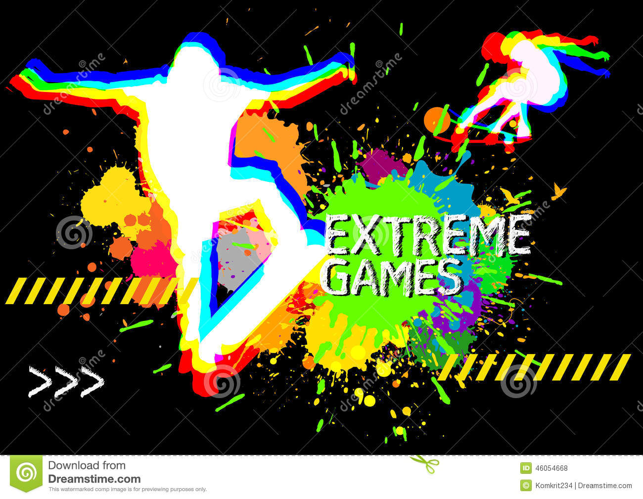 extreme sports skateboarder show on splatter color background stock vector image 46054668. Black Bedroom Furniture Sets. Home Design Ideas