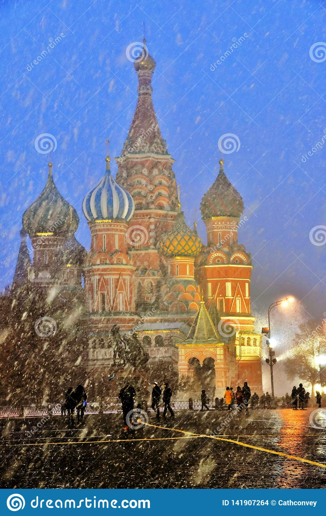 Extreme snowfall on the Red Square in Moscow.