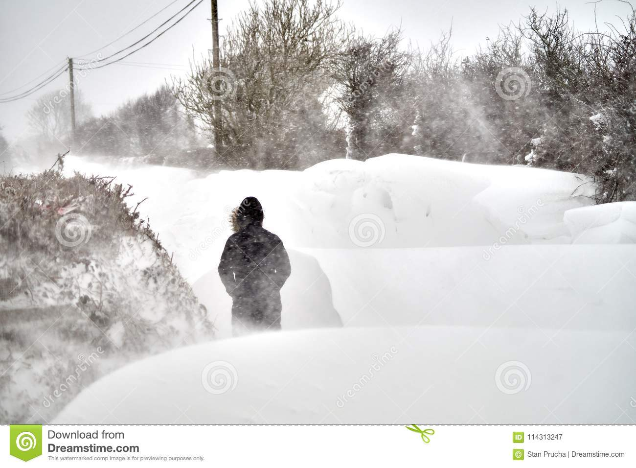 High Snowdrifts On The Road Editorial Photography - Image of