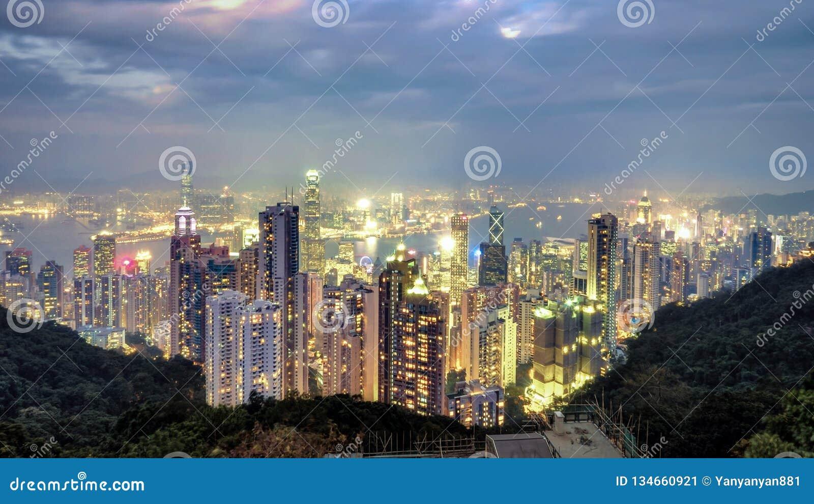 Night scene image of Hong Kong city skyline