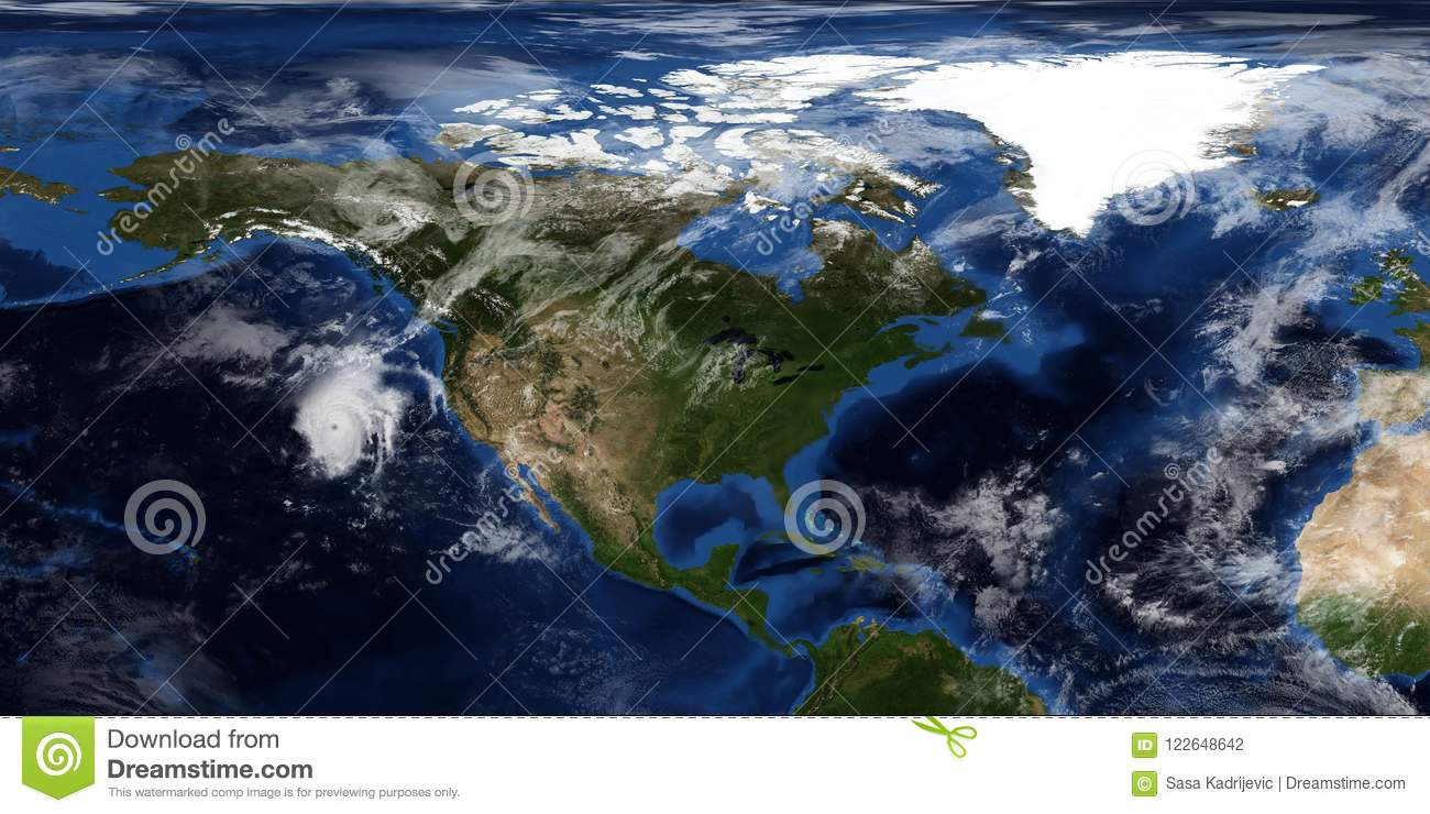 Extremely detailed and realistic 3D illustration of a Hurricane approaching North America. Shot from Space. Elements of this image