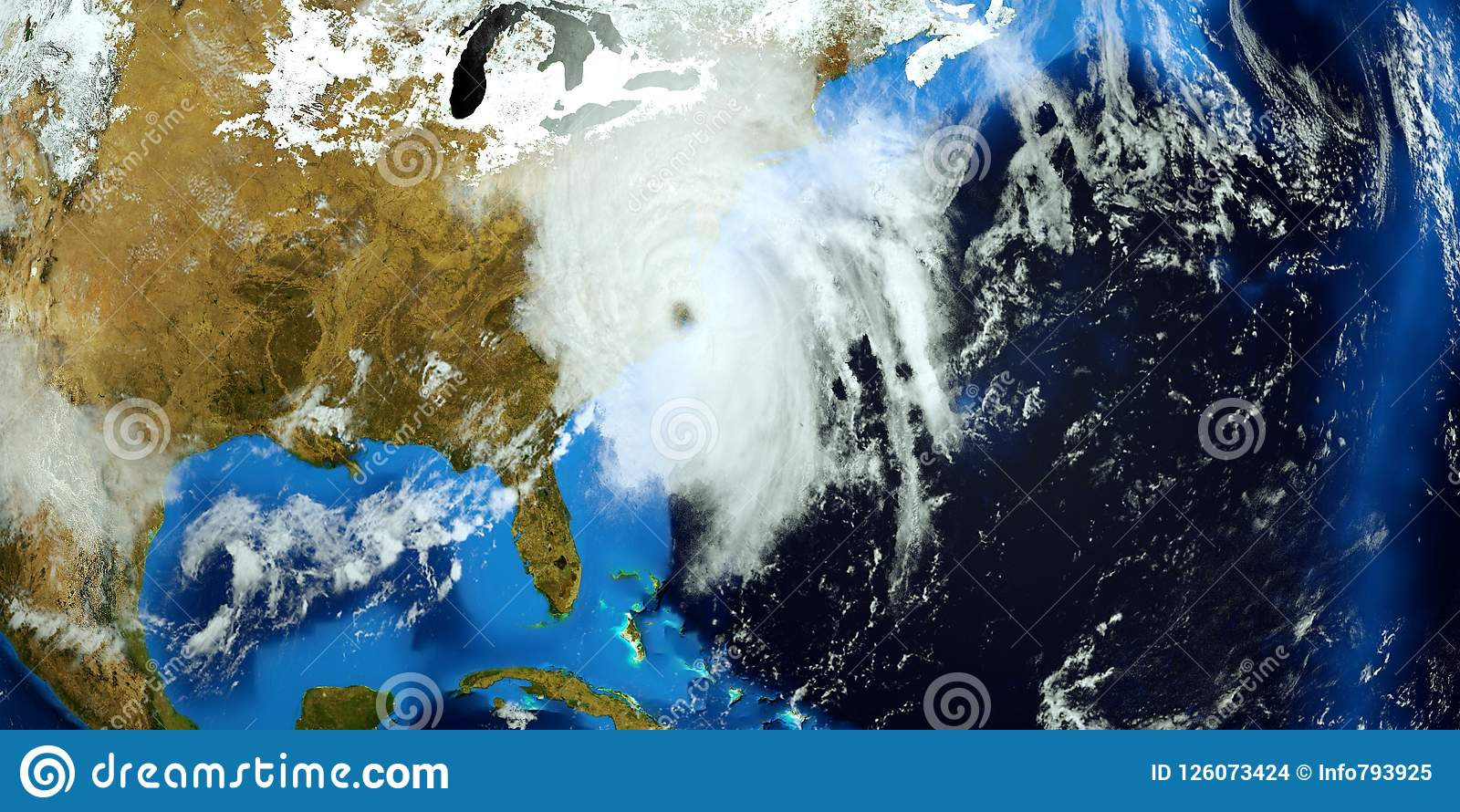 Extremely detailed and realistic high resolution 3D illustration of Hurricane Florence hitting the US East Coast. Shot from Space.