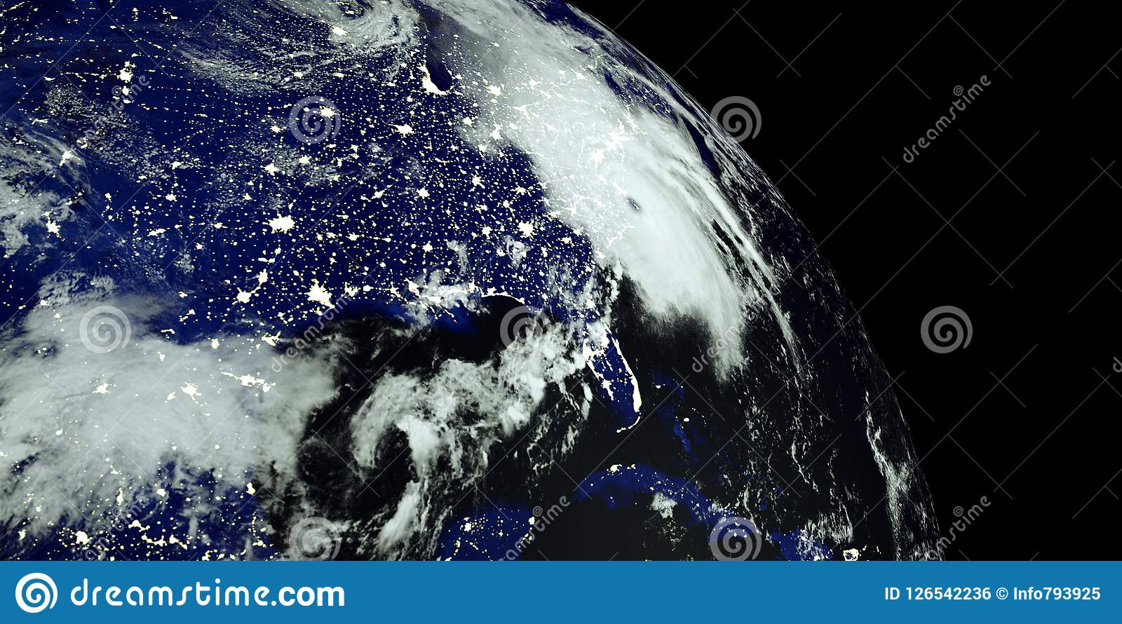 Extremely detailed and realistic high resolution 3D illustration of a Hurricane at Night hitting the US East Coast. Shot from Spac