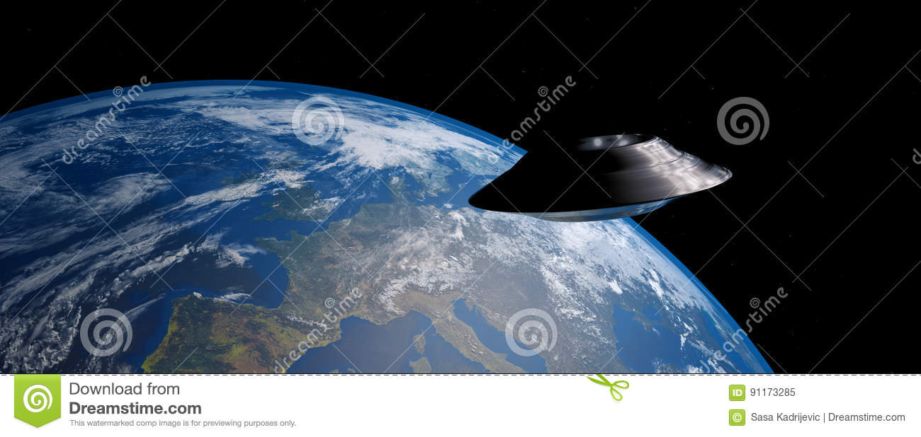 Download Extremely Detailed And Realistic High Resolution 3D Image Of An UFO / Flying Saucer Orbiting Earth Shot From Outer Space. Stock Illustration - Illustration of communication, abduction: 91173285