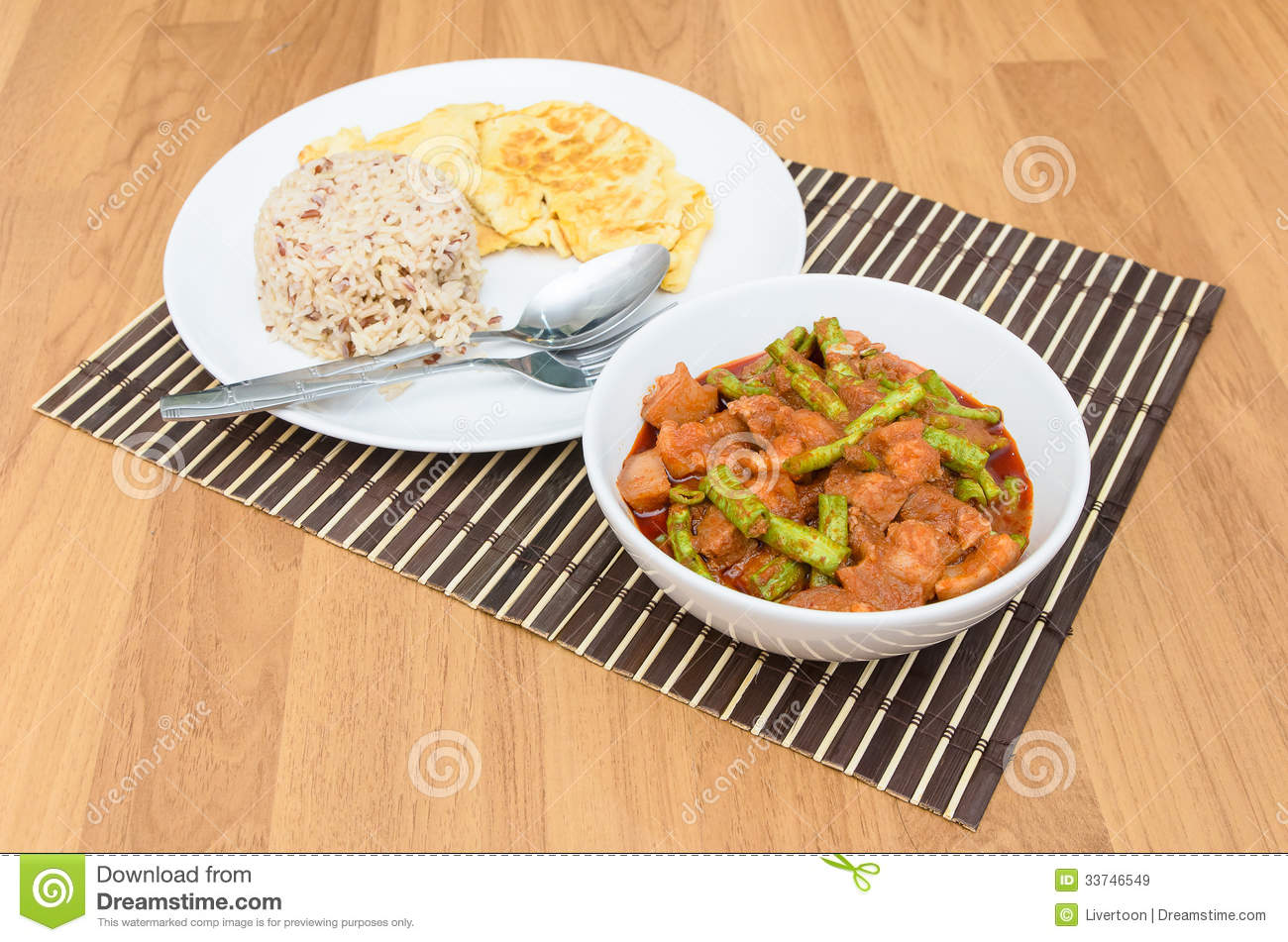 Extremely hot stir fried string bean with pork have rice and omelet in ...