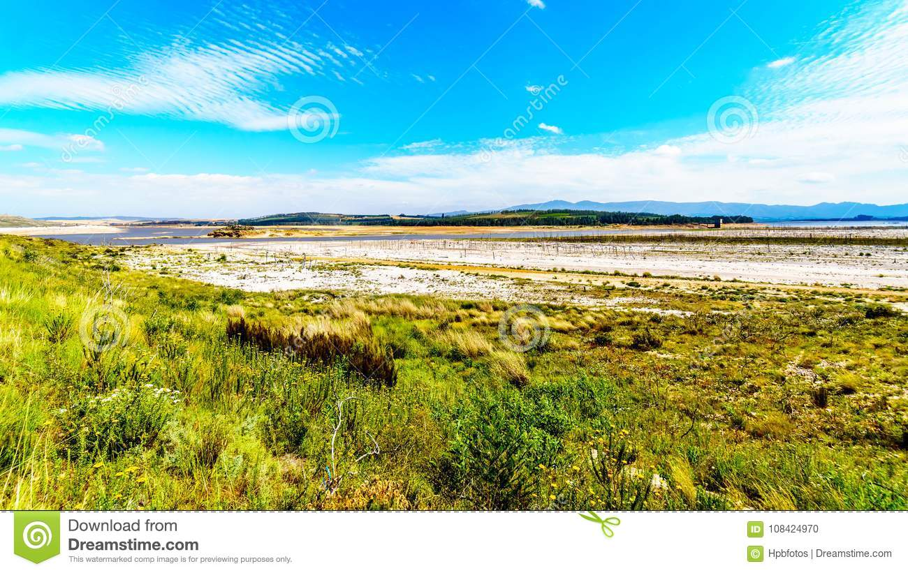 Extremely low water level in the Theewaterkloof Dam which is a major source for water supply to Cape Town