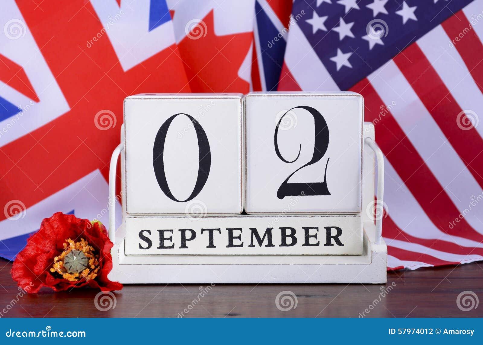Extremidade WWII da data de calendário do 2 de setembro de 1945