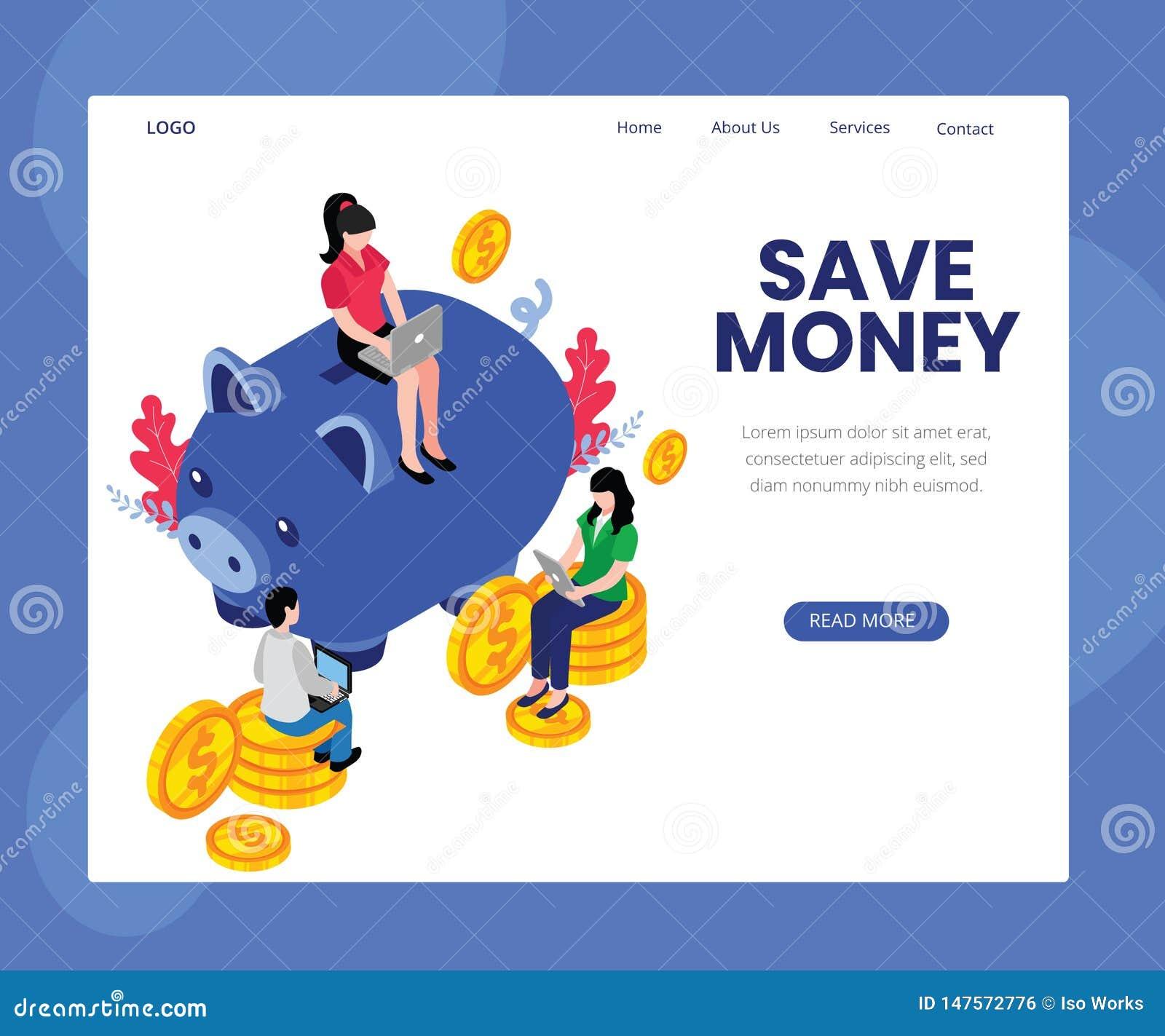 Extremidades para ahorrar concepto isométrico en línea de las ilustraciones del dinero