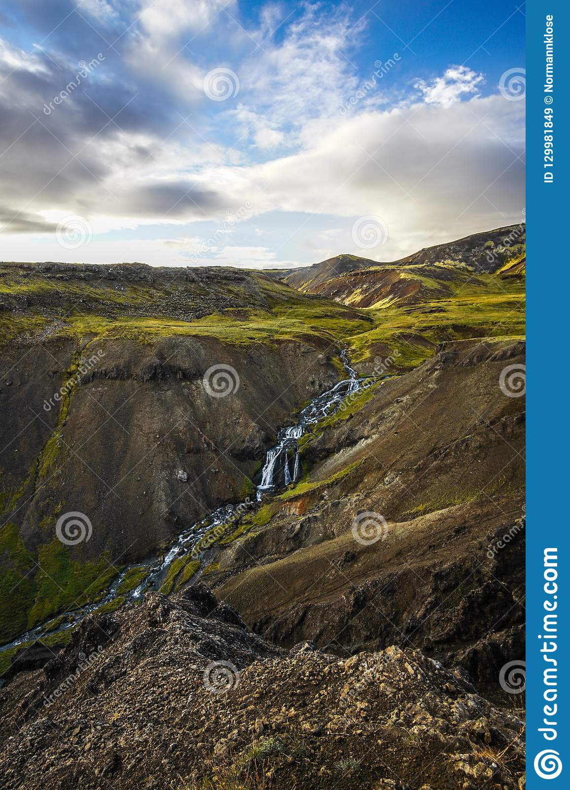Extremly green valley in iceland in the hengill area of iceland