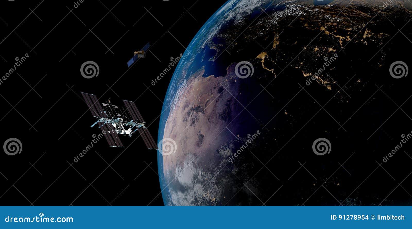 Extremt detaljerad och realistisk hög bild för upplösning 3D av en satellit- kretsa kring jord Skott från utrymme