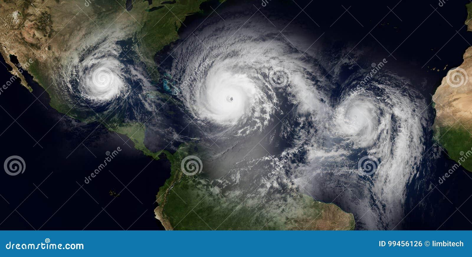 Extremt detaljerad och realistisk hög illustration för upplösning 3d av 3 orkaner som att närma sig de karibiska öarna och Florid
