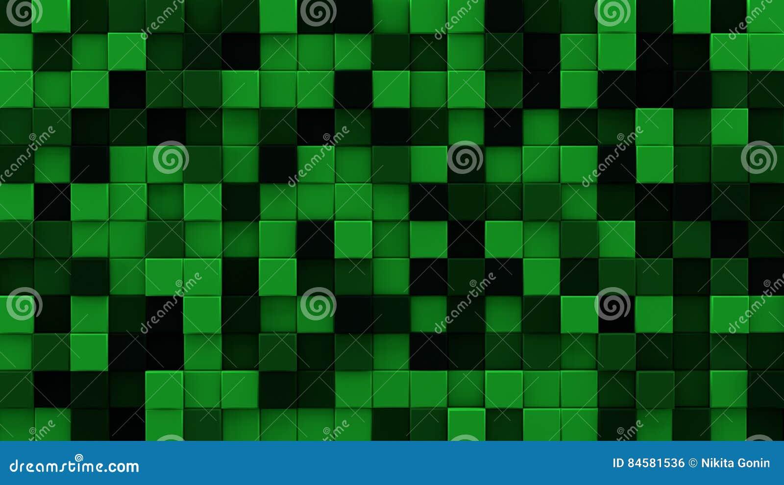 Extruded dark green cubes 3D render